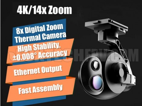 Foxtech EH640C 4K 14x Zoom IR Thermal Camera with 3-axis Gimbal (Temperature Measuring Version)