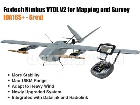 Foxtech Nimbus VTOL V2 for Mapping and Survey(DA16S+ Combo)-Grey