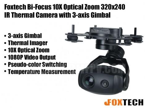 Foxtech Bi-Focus 10X Optical Zoom 320x240 IR Thermal Camera with 2-axis Gimbal-HDMI