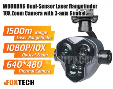WOOKONG Dual-Sensor Laser Rangefinder 10X Zoom Camera with 3-axis Gimbal
