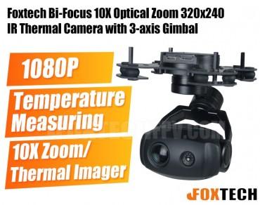 Foxtech Bi-Focus 10X Optical Zoom 320x240 IR Thermal Camera with 3-axis Gimbal