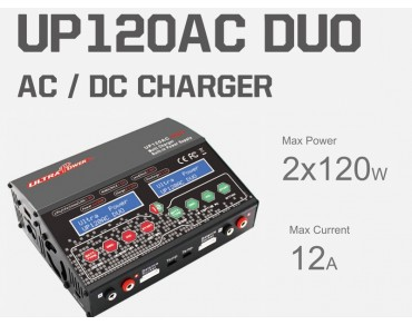 Ultra Power UP120AC DUO 2X120W 12A Dual Channels AC/DC Charger
