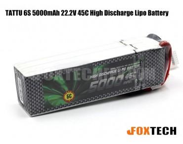 TATTU 6S 5000mAh 22.2V 45C High Discharge Lipo Battery