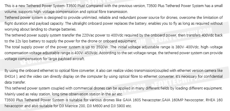 T3500 Plus Tethered Power System for drones