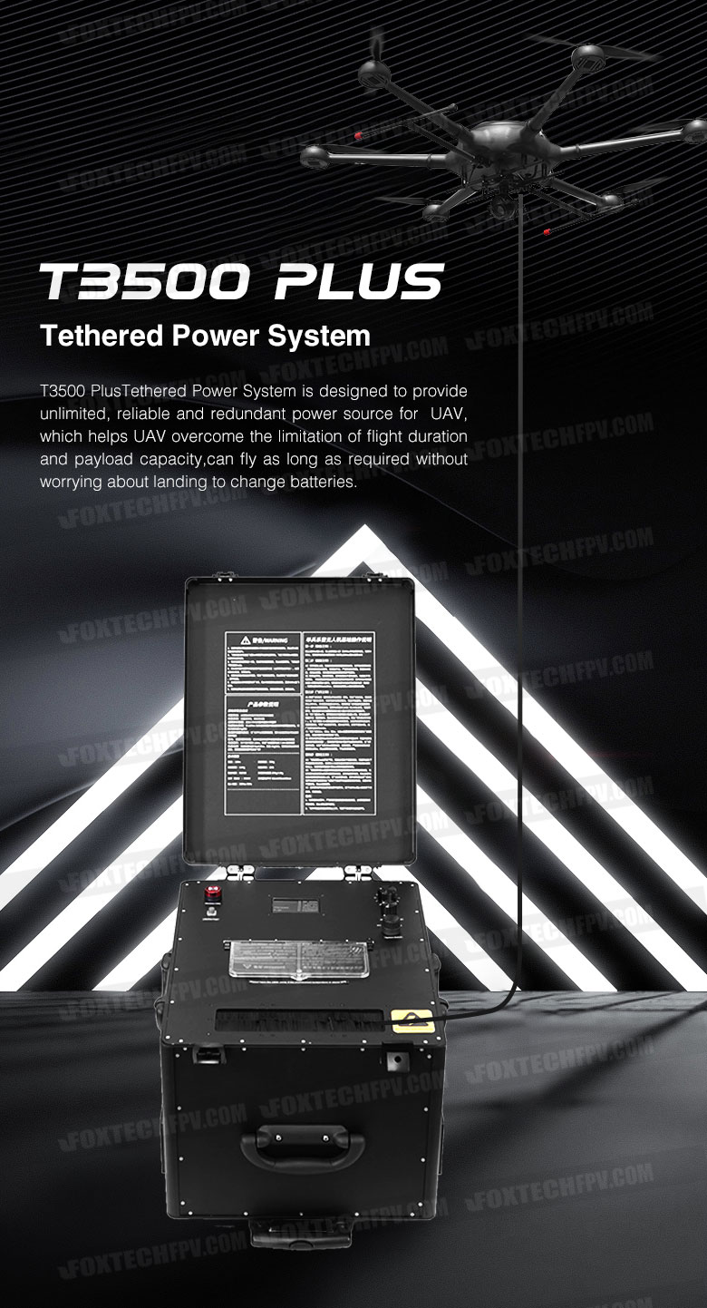 T3500 Plus Tethered Power System providing unlimited, reliable and redundant power source for drones